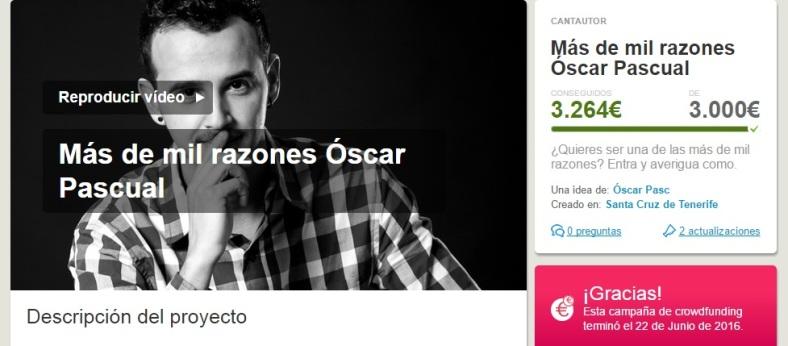 Oscar Pascual crowdfunding conseguido